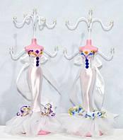 """Подставка под бижутерию с крючками """"Манекен"""" в белом платье"""