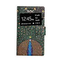 Чехол - книжка для телефона Универсал Gems 5.3 - 5.6 Одно Окно Принт - 50, кожзам/силикон, инкрустация стразами, цветной принт, закрывается на магнит