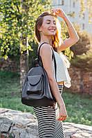 Рюкзак трансформер шкіряний модель 04 чорний флотар, фото 1