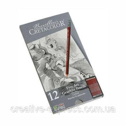 Набір графітних олівців Cleos, 12шт., мет. коробка, Cretacolor