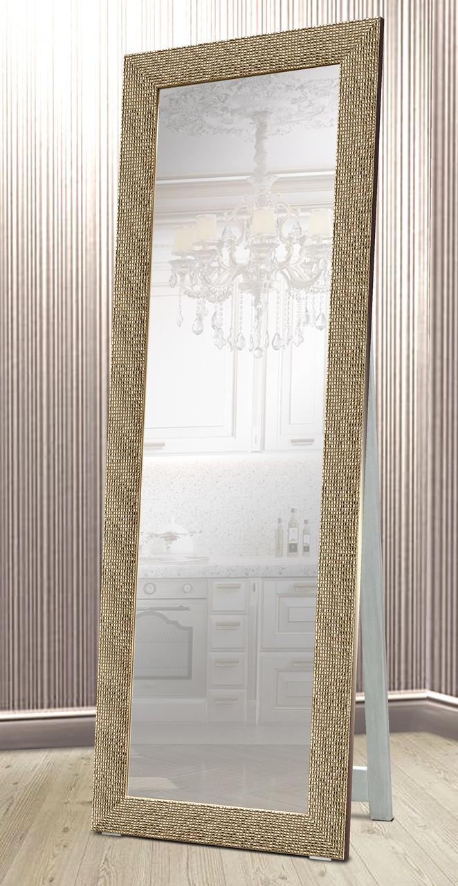 Зеркало напольное в раме Factura с деревянной подставкой Gold cube 60х174 золотое