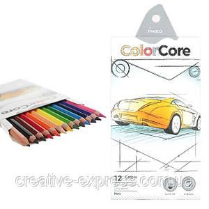 Карандаши 12 цветов шестигранные d=4.0+1 графитный НВ , ColorCore (new), Marco