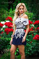 Платье 0893 / белый + синий