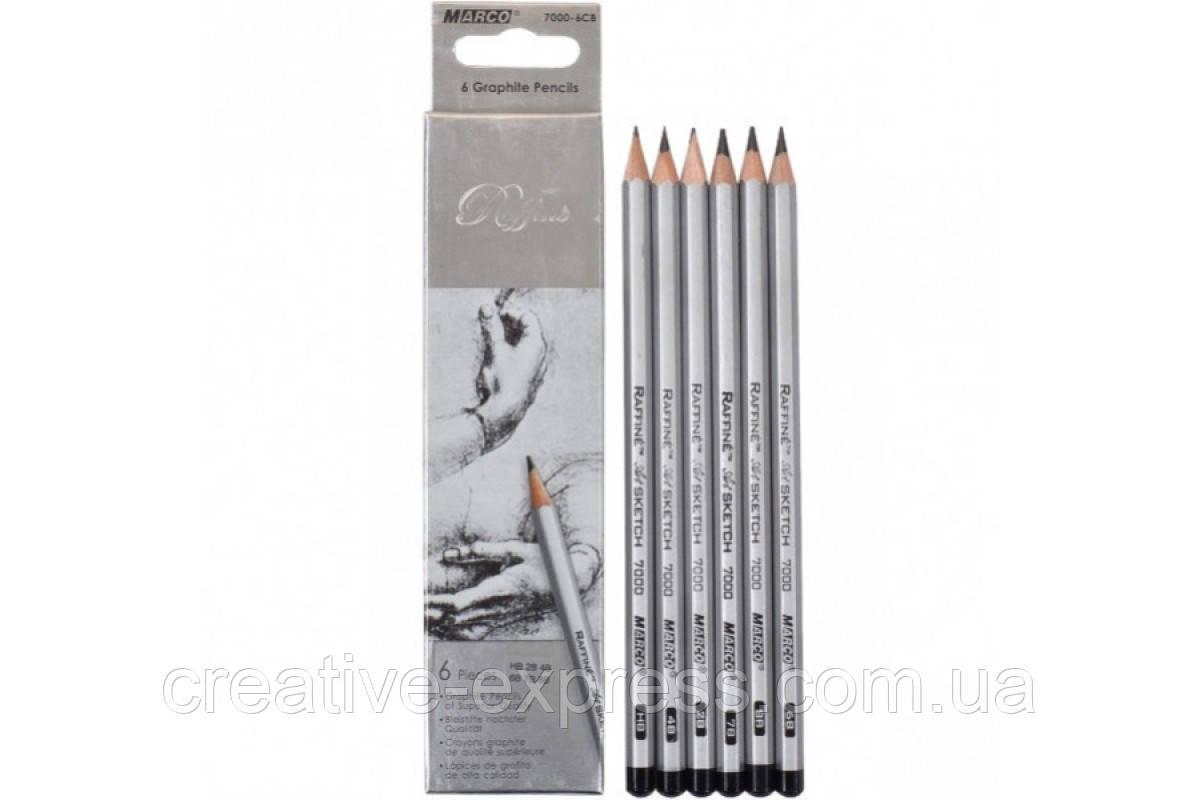 Олівці графітні 6 шт. шестигранні НВ - 8В, Raffine, Marco