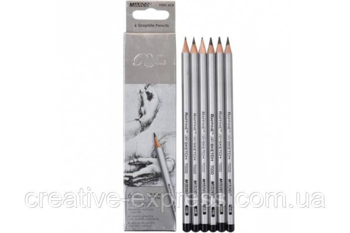 Олівці графітні 6 шт. шестигранні НВ - 8В, Raffine, Marco, фото 2