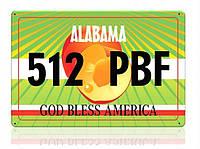 Декоративный номерной знак Alabama (Изготовим за 1 час), фото 1