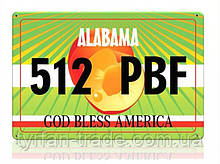 Декоративний номерний знак Alabama (Виготовимо за 1 годину)
