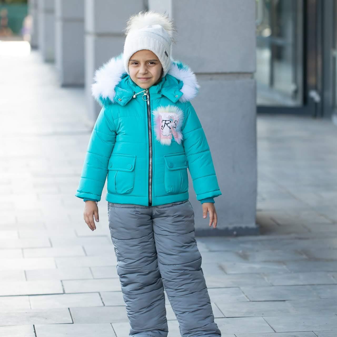 """Детский зимний комбинезон на девочку """"Нежинка"""" , цвет - бирюза, размеры 24 -30"""
