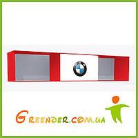 """Полка в детскую комнату """"BMW"""" красная на три секции с одним фасадом"""