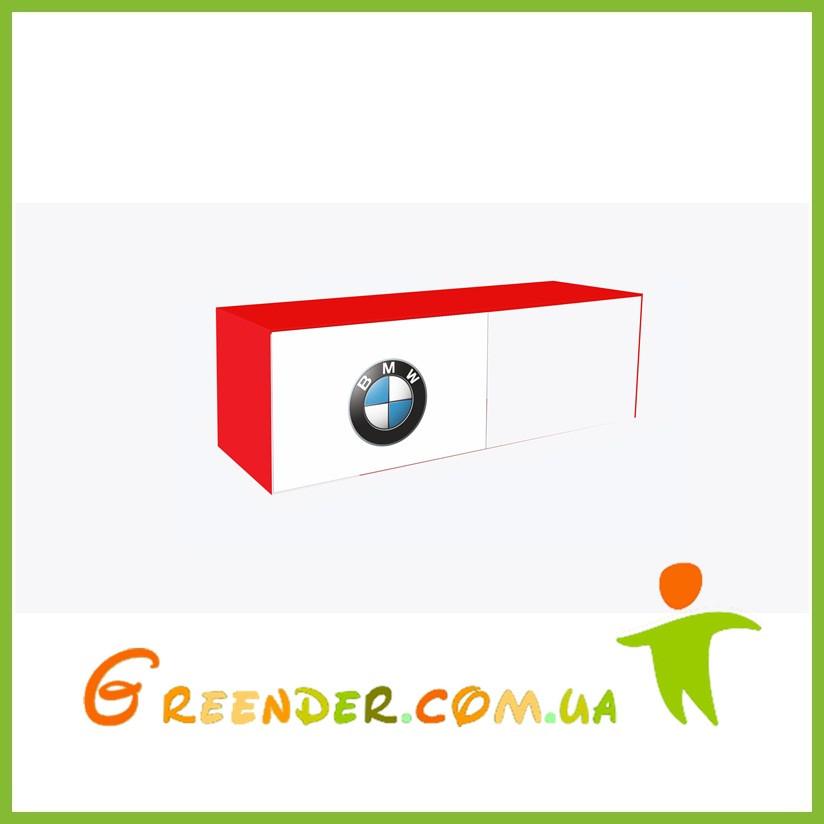 """Полка навесная в детскую комнату """"BMW"""" красная на две секции с двумя фасадами"""