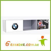 """Полки для игрушек в детскую комнату """"BMW"""" белая на три секции с двумя фасадами"""