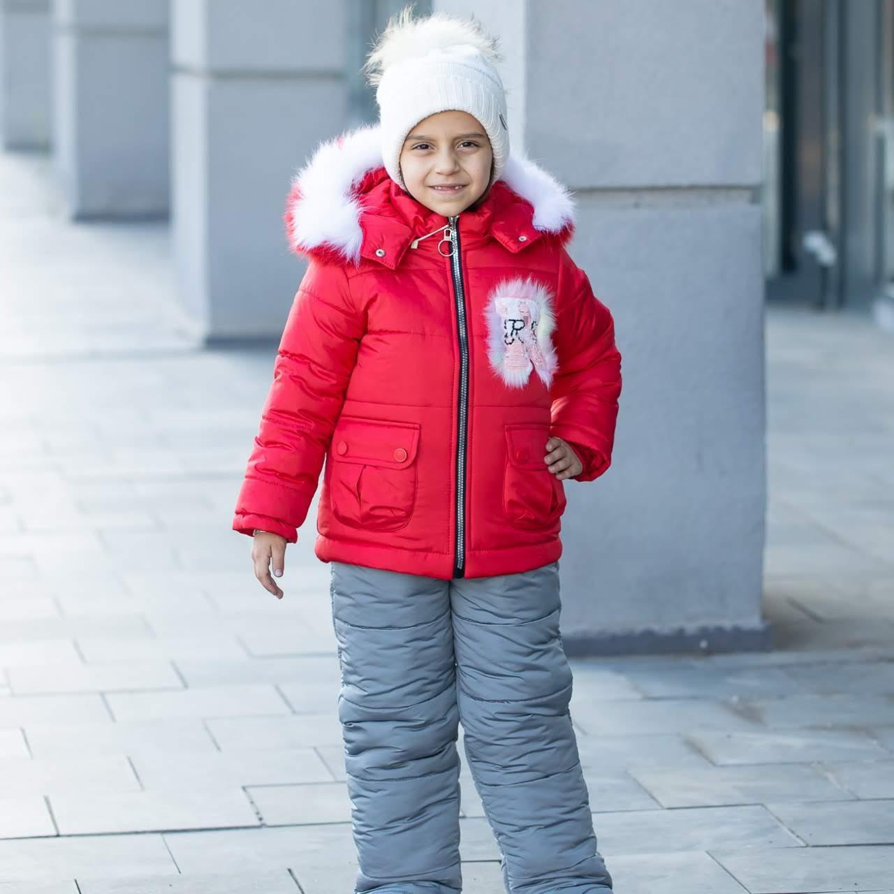 """Детский зимний комбинезон на девочку """"Нежинка"""" , цвет - красный, размеры 24 -30"""