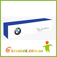 """Полка навесная в детскую комнату """"BMW"""" синяя на три секции с тремя фасадами"""