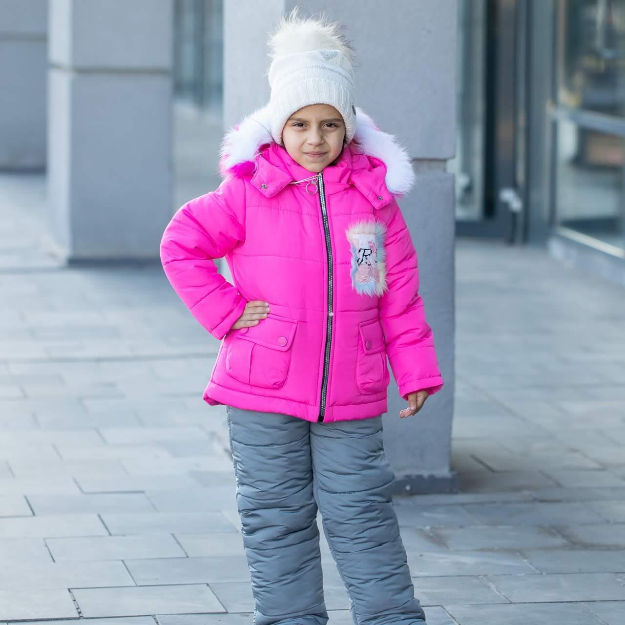"""Детский зимний комбинезон на девочку """"Нежинка"""" , цвет - малиновый, размеры 24 -30"""
