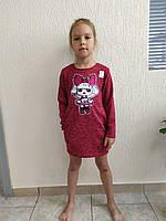 Платье детское 56-76р-р ангора апликация перевертышь карман кнопка сзади
