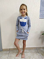 Платье детское 56-68р-р спортивное ангора апликация стразы карман шнурок