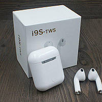 Навушники bluetooth TWS i9S-TWS с кейсом PowerBank 1000mah QualitiReplica AirPods