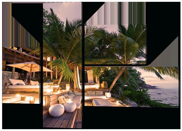 Модульная картина Сейшельские острова Бунгало на пляже 110*78 см Код: W588 S