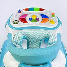Детские ходунки JOY музыкальные голубой зигзаг, фото 2
