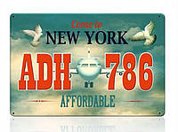 Декоративный номерной знак New-York (Изготовим за 1 час), фото 1