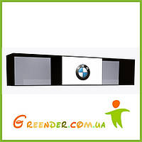 """Полка навесная в детскую комнату """"BMW"""" черно-белая на три секции с одним фасадом"""