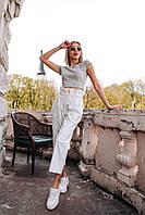 Женские штаны из коттона - белые, фото 2