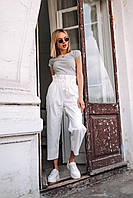 Женские штаны из коттона - белые, фото 3