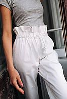 Женские штаны из коттона - белые, фото 4