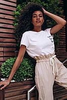 Женские льняные штаны - бежевые, фото 2