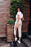Женские льняные штаны - бежевые, фото 3