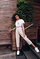 Женские льняные штаны - бежевые, фото 4