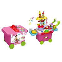 Детская Кухня тележка на колесах, плита продукты, посуда,6631-1
