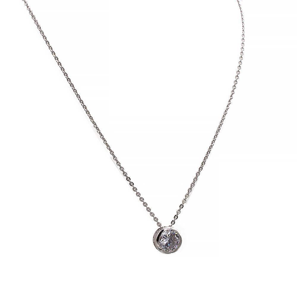 Кулон на цепочке белое золото (медицинская сталь) Камень 0,8 см в круглой металлической оправе (45+5см)