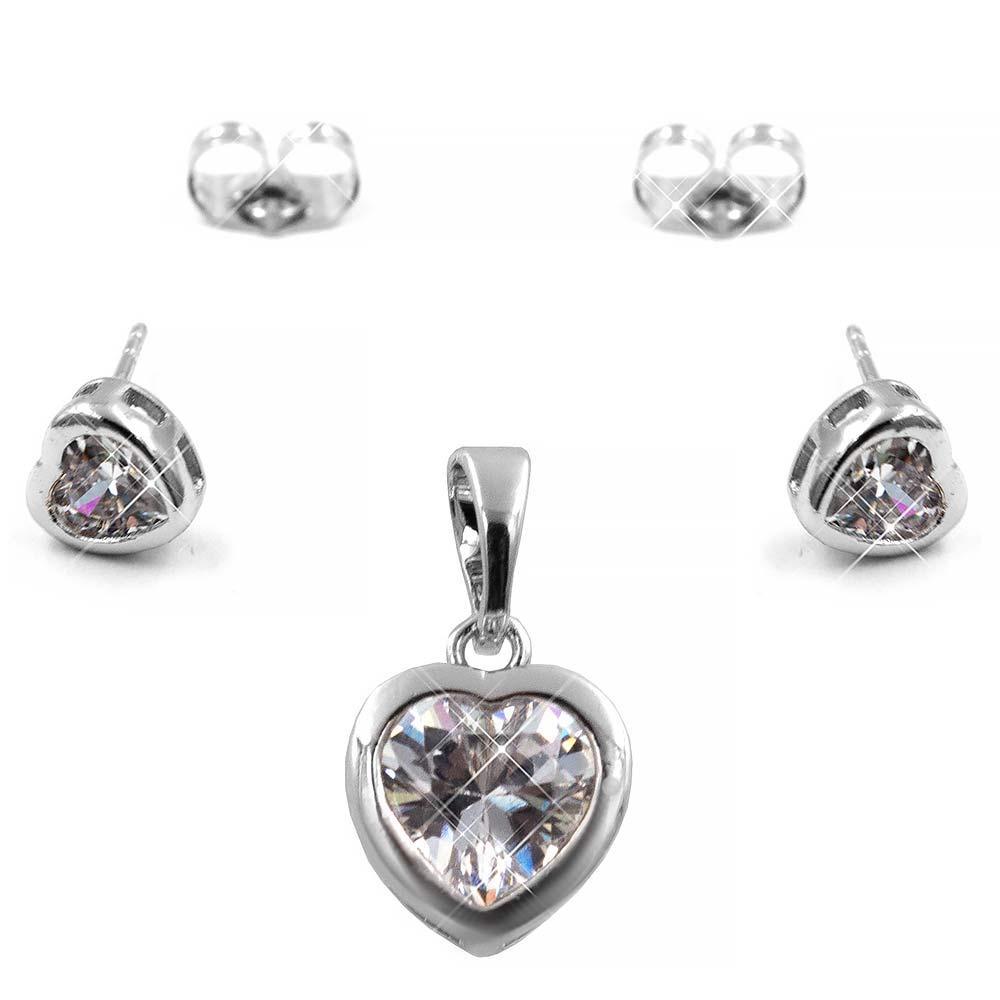 Набор белое золото (медицинская сталь) Сердце-камень в металлической оправе