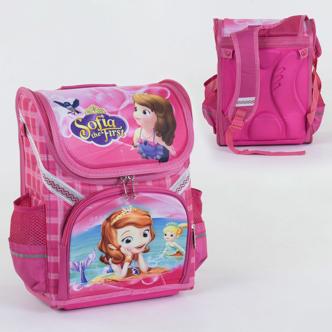 Рюкзак школьный каркасный С 36181спинка ортопедическая 1 отделение 3 кармана с 3D рисунком