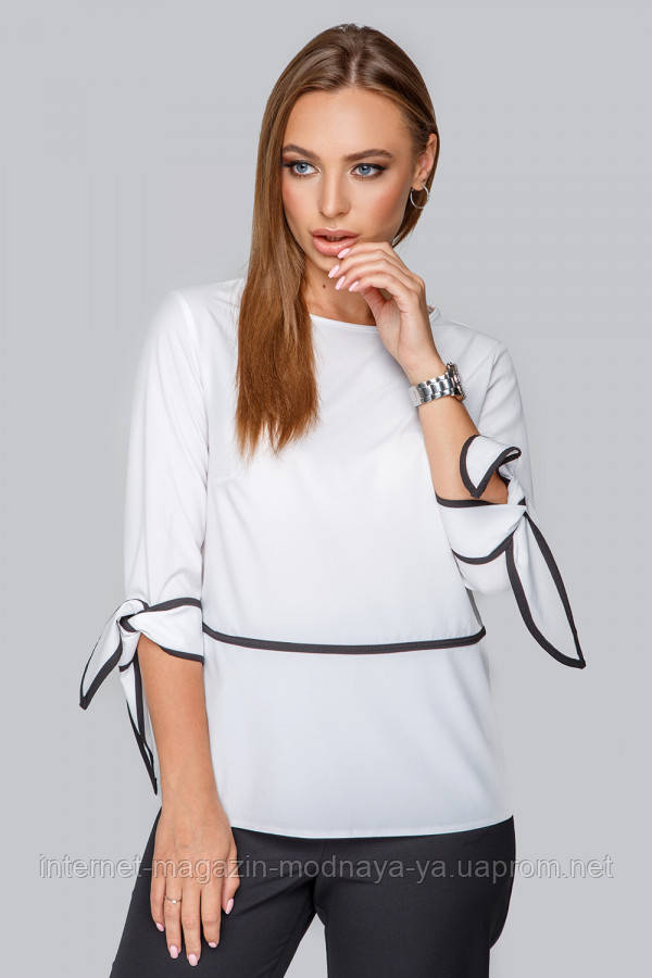 Блуза с кантом № 19-92 р. S;M; L белая