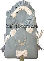 Осенний весенний утеплённый конверт-одеяло 80х80 демисезонный на выписку из роддома велюр голубой с ушками для новорожденных мальчику СН-114
