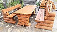 Мебель из дикого бревна, деревянная мебель из оцилиндрованного бруса