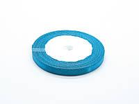 Лента атласная, сине-голубая, 6 мм. (рулон 23 м)