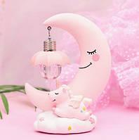Дитячий світильник SUNROZ Unicorn Moon Light лампа-нічник Рожевий (SUN4934)