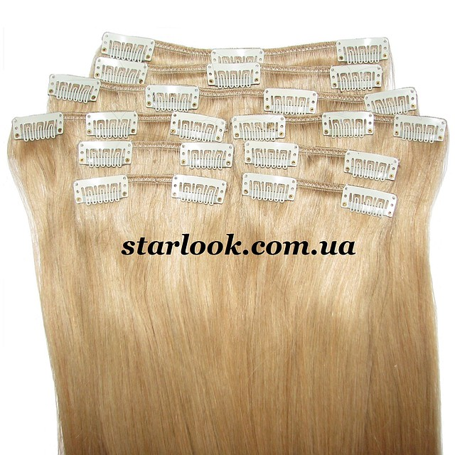Набор натуральных волос на клипсах 60 см. Оттенок №23. Масса: 140 грамм.