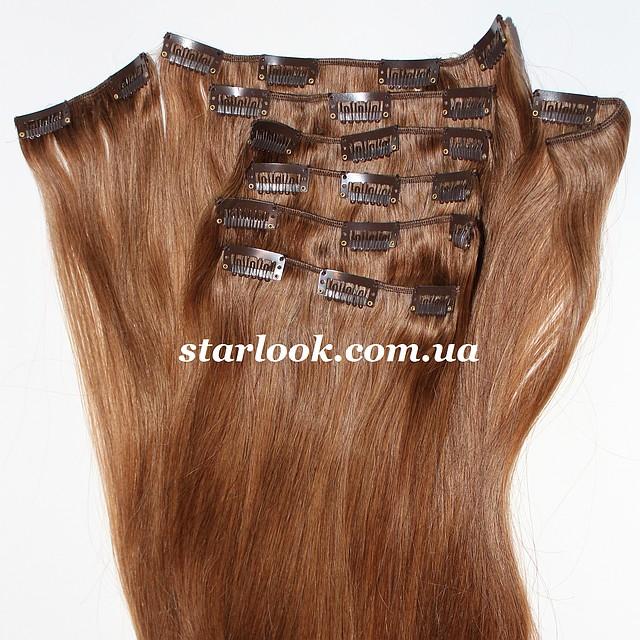 Набор натуральных волос на клипсах 50 см оттенок №12 160 грамм