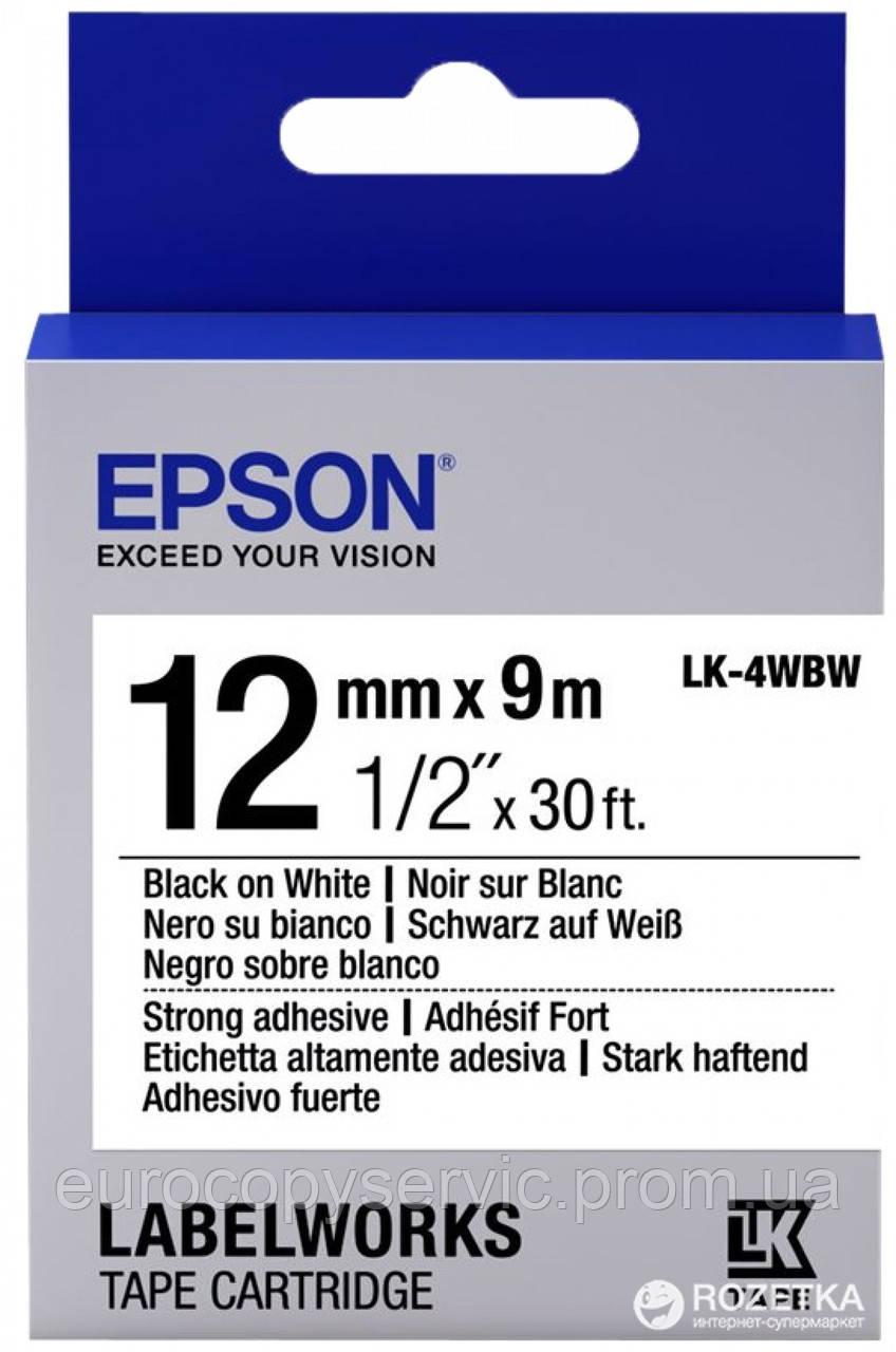Картридж зі стрічкою Epson LK4WBW Black/White 12mm/9m (C53S654016) Original