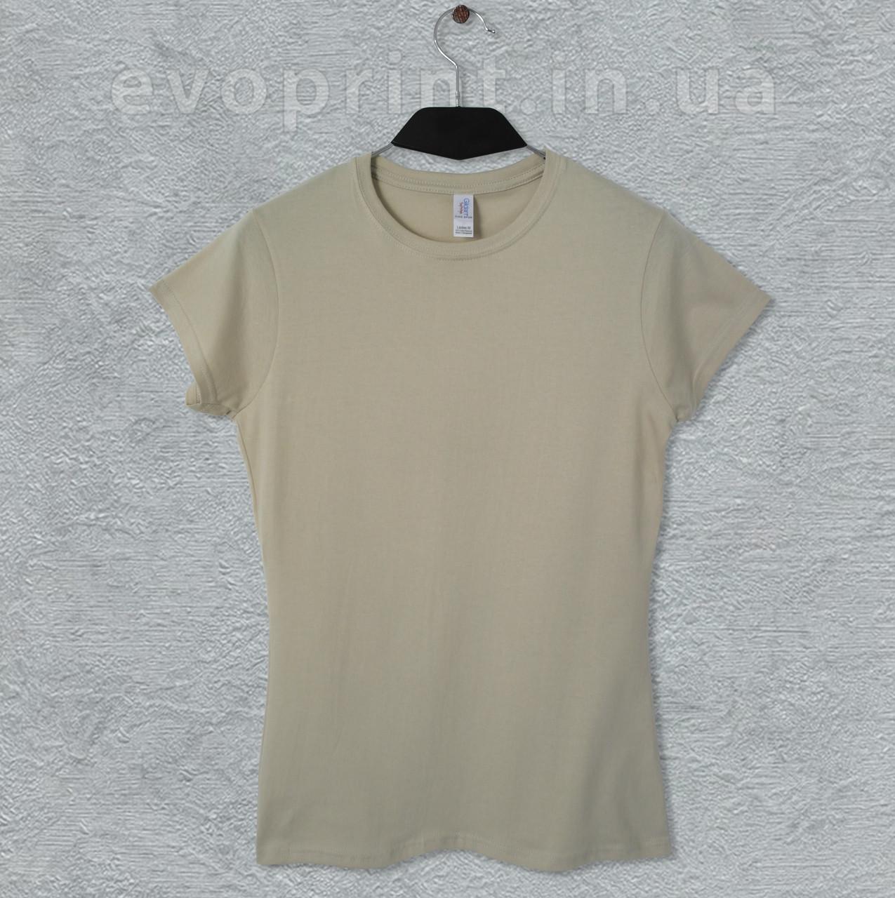 Женская футболка однотонная бежевая