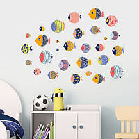 Наклейки для интерьера на стену: рыбки PVC декоративные 30 шт.