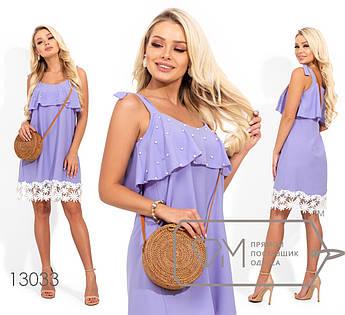 Шелковое платье с кружевом и жемчугом, сиреневый