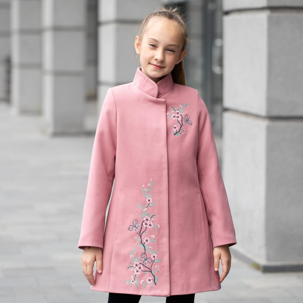 Демисезонное пальто для девочки «Сакура», цвет - пудра, размер 122 - 146.