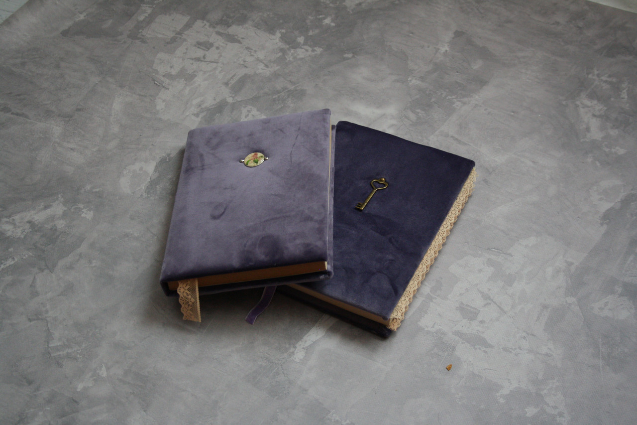 Бархатный винтажный блокнот ручной работы для девушки