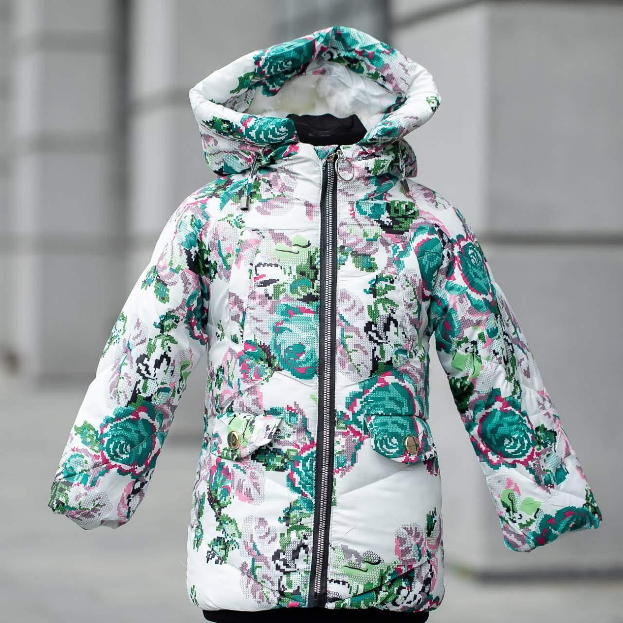 """Детская зимняя куртка на девочку """"Розы"""" , цвет - принт 2, размеры на 3 - 7 лет"""