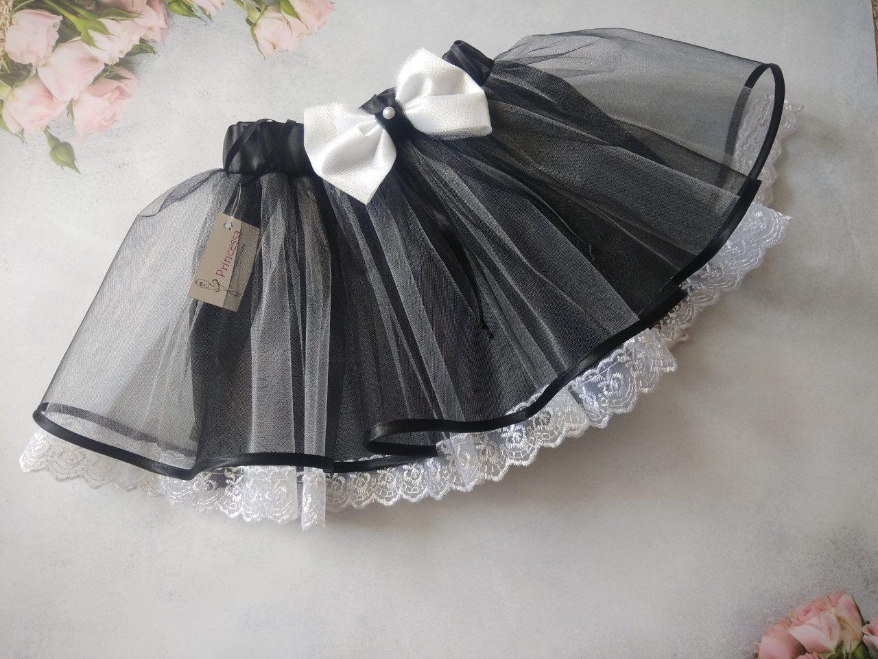 """Черно-белая """"прелесть"""" детская фатиновая на резинке, с кружевом. Пошив в любом размере"""
